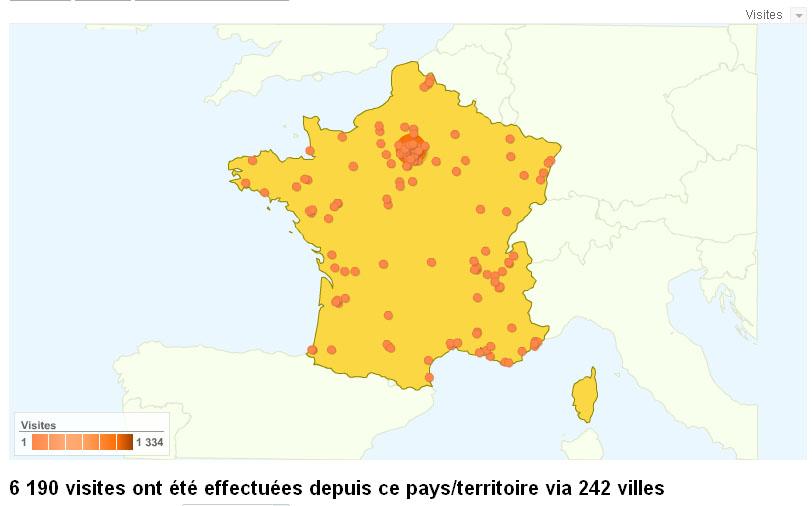 Visites : la carte de France